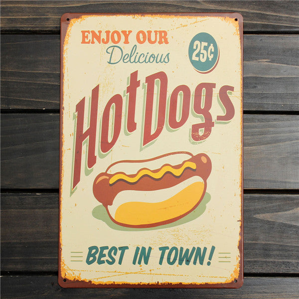 Hot Dogs Retro Metal Sign - InStyle Walls LLC