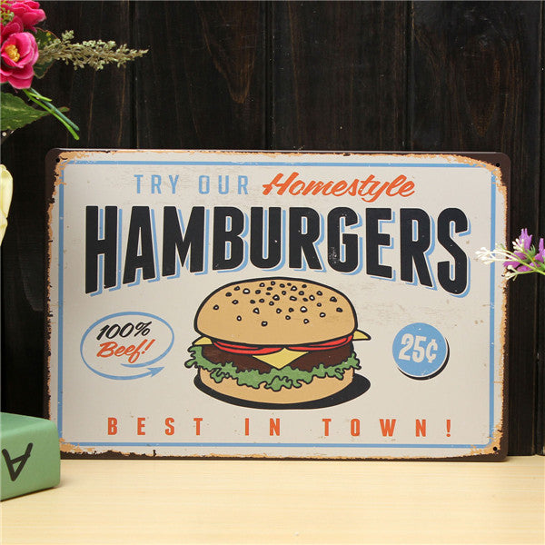 Hamburgers Retro Metal Sign - InStyle Walls LLC