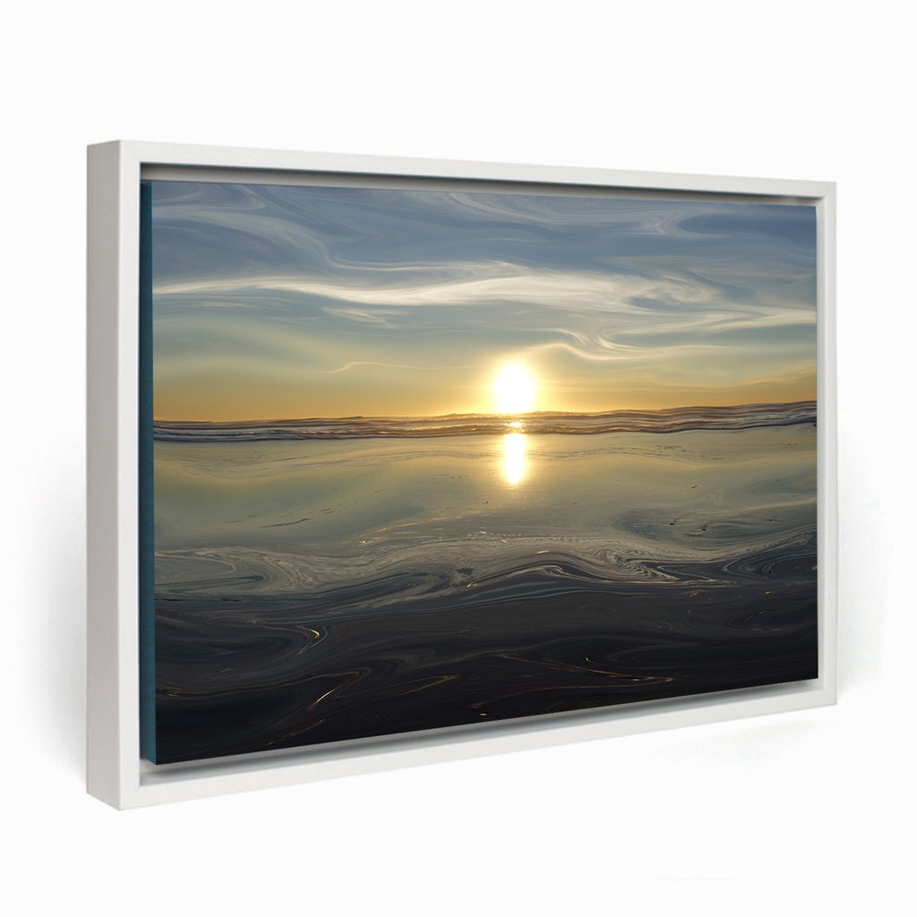 Ocean Sunset Framed Canvas - InStyle Walls LLC