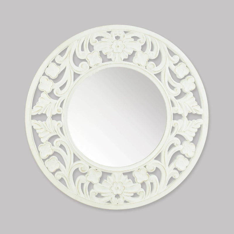 Carved Round White Wall Mirror - InStyle Walls LLC