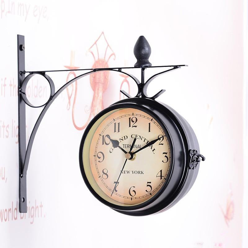 Retro double-sided metal wall clock - InStyle Walls LLC