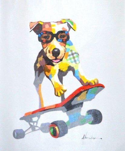 Modern Skate Puppy Art Oil Painting - InStyle Walls LLC