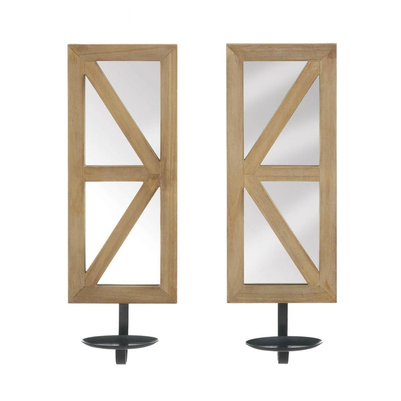 Mirrored Wood Candle Sconce Set - InStyle Walls LLC