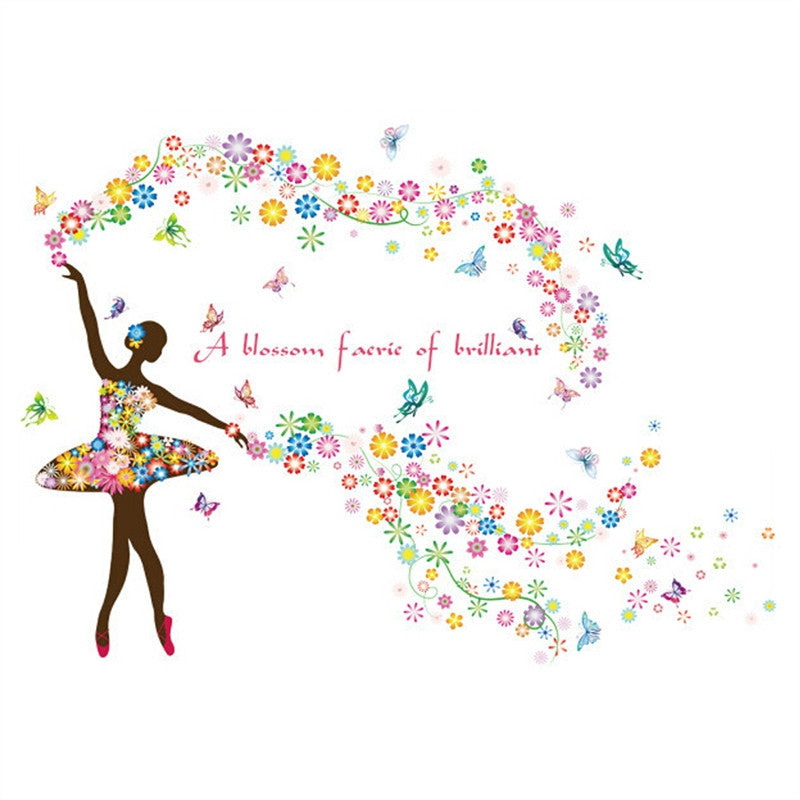 Butterfly Ballerina Girl Wall Decal - InStyle Walls LLC