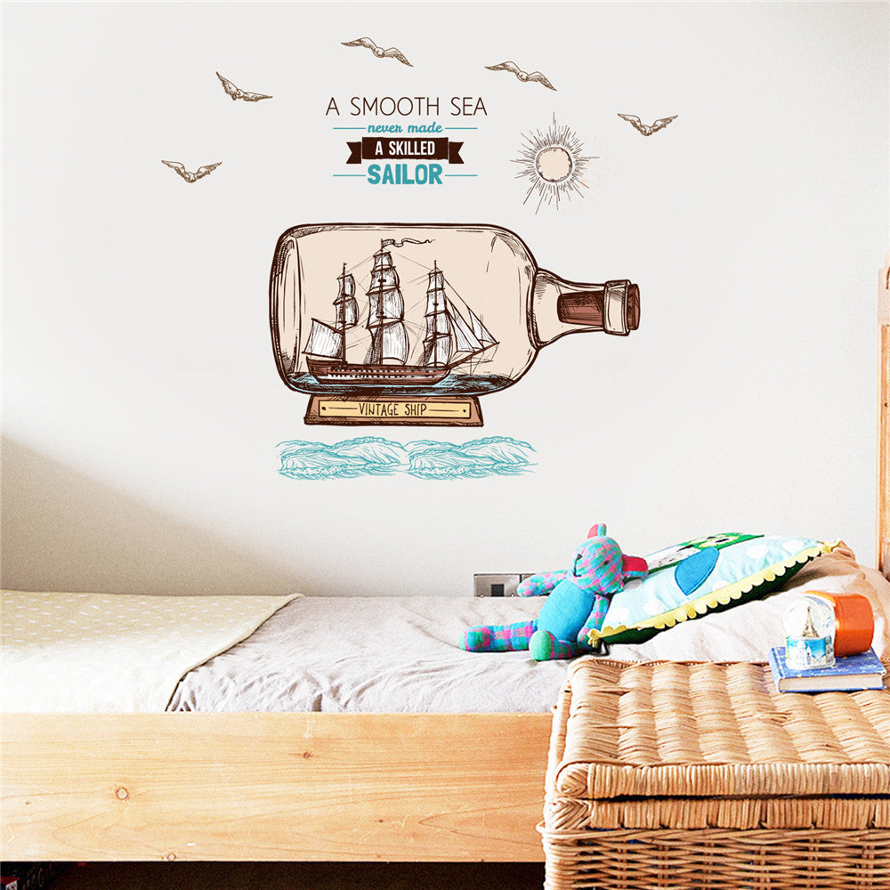 Cartoon Boat in a Bottle Wall Decal - InStyle Walls LLC