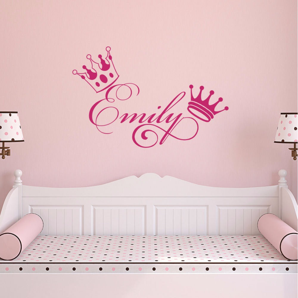 Personalized Name and Crown Wall Decal - InStyle Walls LLC