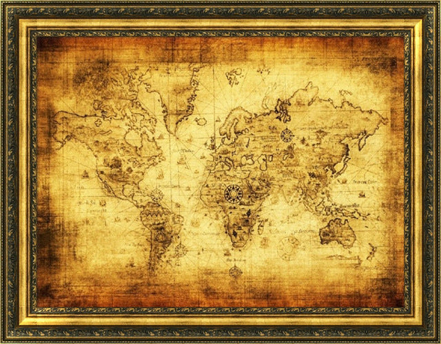Vintage Style World Wall Map - InStyle Walls LLC