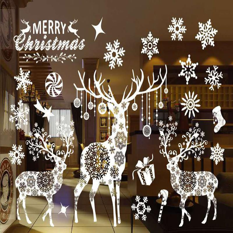 Merry Christmas White Reindeer & Snowflake Stickers - InStyle Walls LLC