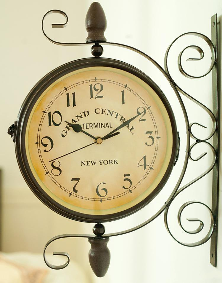 Vintage Style Double Sided Wall Clock - InStyle Walls LLC