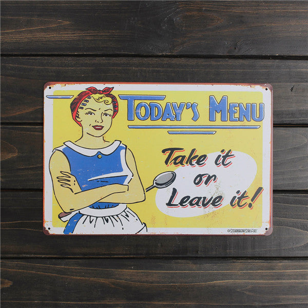 Menu Drawing Metal Sign - InStyle Walls LLC