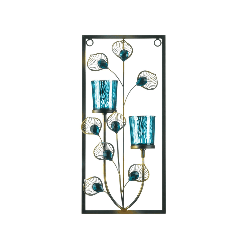 Two Candle Peacock Wall Sconce - InStyle Walls LLC