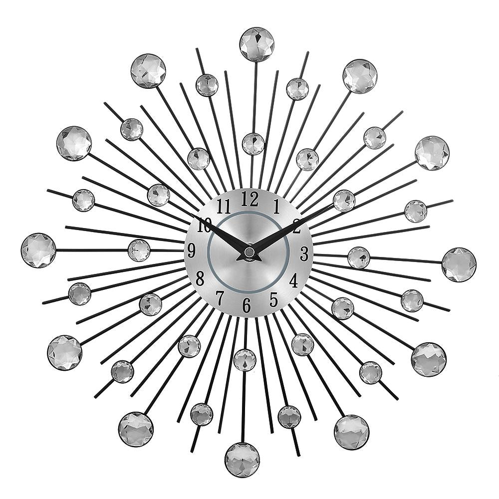 Metal Crystal Sunburst Wall Clock - InStyle Walls LLC