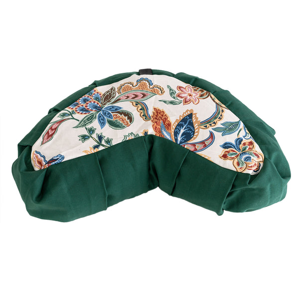 Green Canvas & Floral Print Meditation Cushion