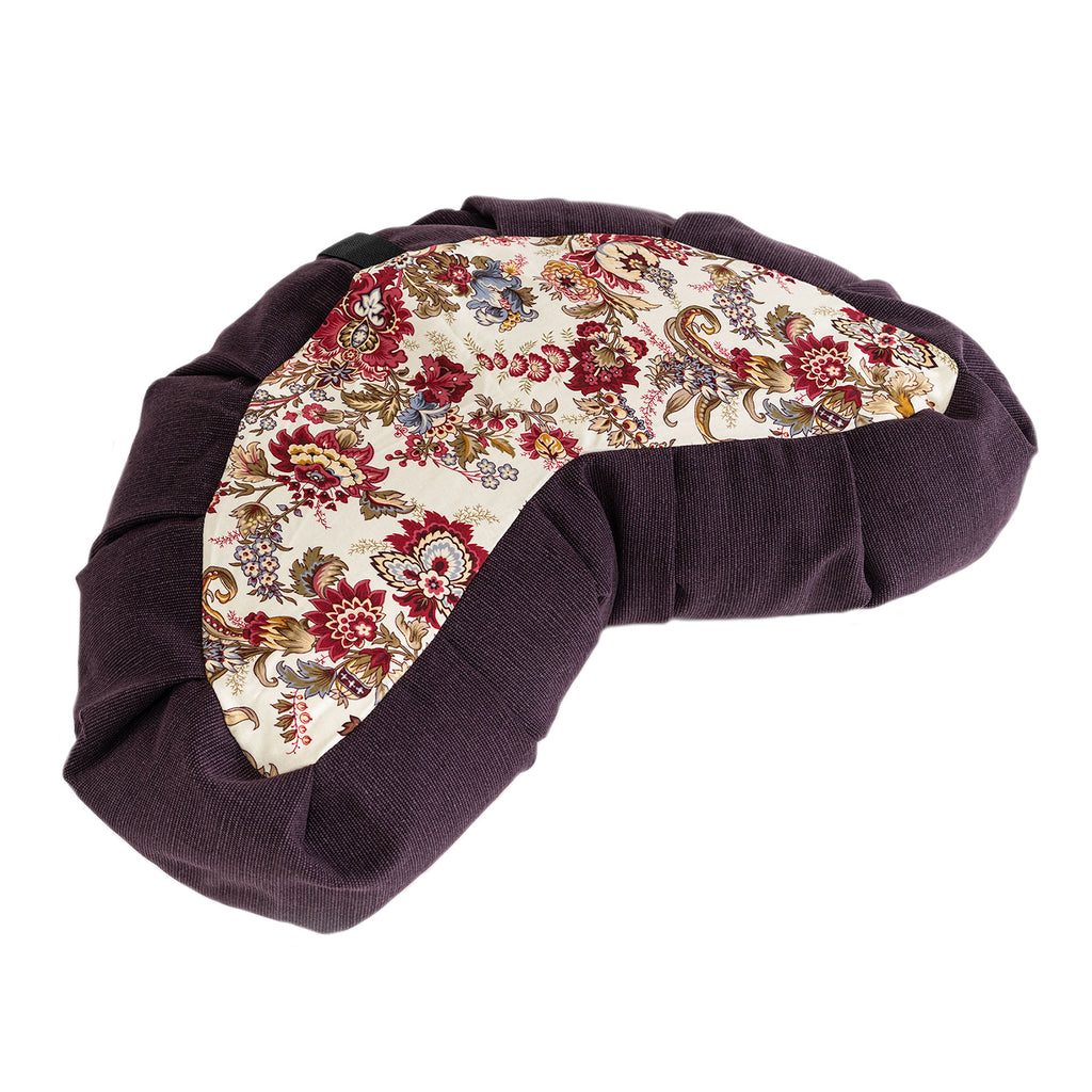Eggplant & Floral Print Meditation Cushion