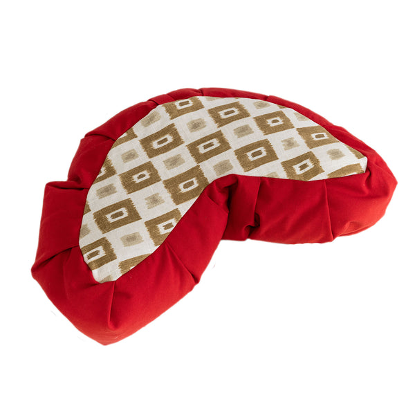 Red Canvas & Print Meditation Cushion