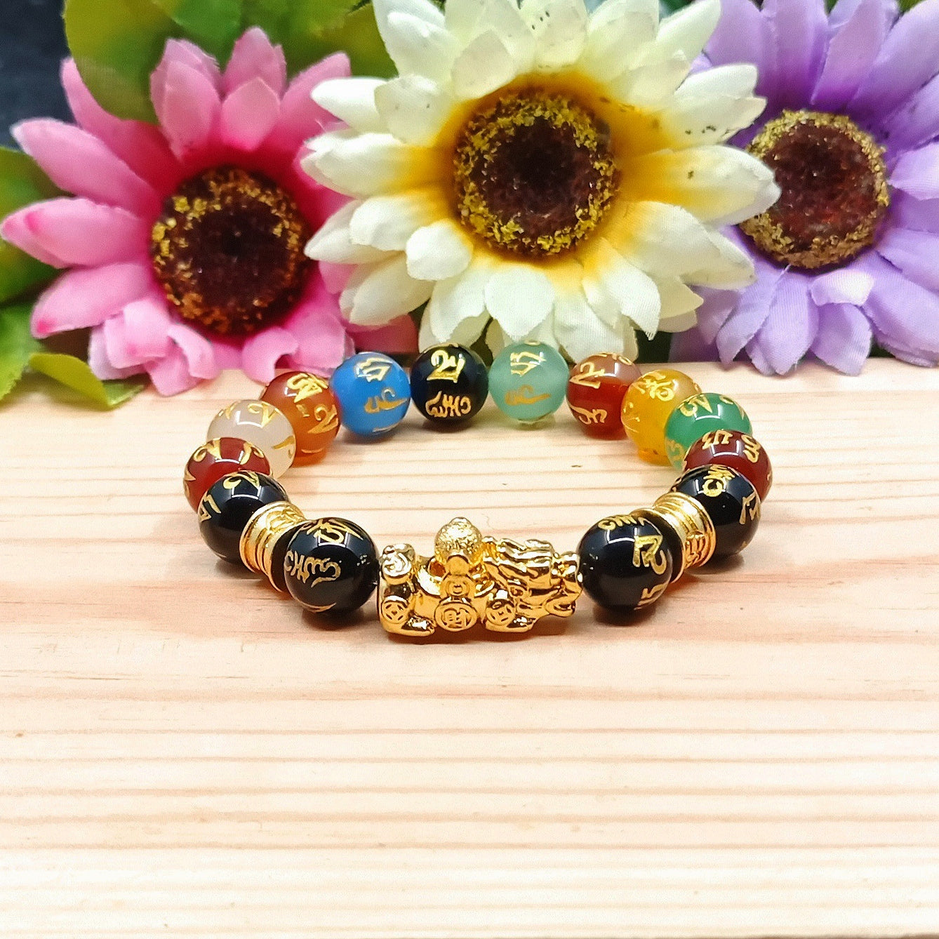 Multi-color Mantra Fengshui Pixui Bracelet