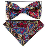 Brown Color Paisley Pre-tied  Bow Tie Set