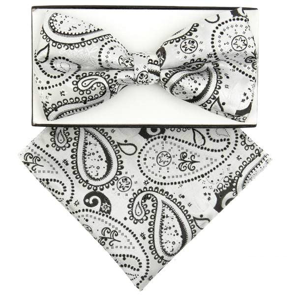 White Patterned Paisley Pre-tied  Bow Tie Set