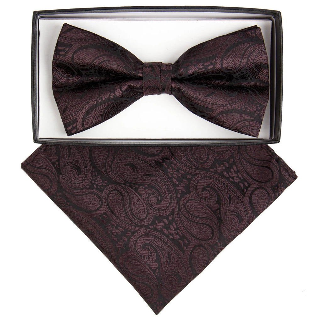 Brown Paisley Bow Tie Set