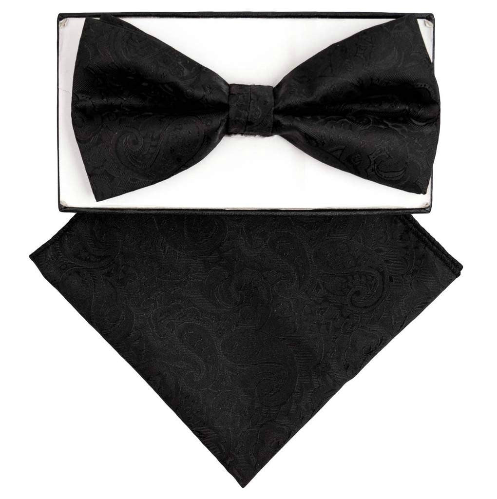 Dark Charcoal  Paisley Bow Tie Set