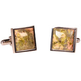 SILVERTONE SQUARE ORANGE/GREEN MARBLE CUFFLINKS