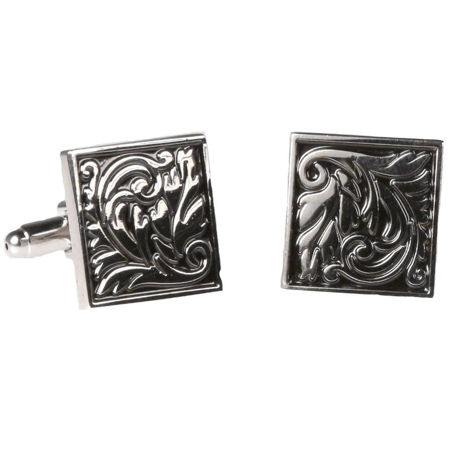 SILVERTONE SQUARE GEOMETRIC PATTERN CUFFLINKS
