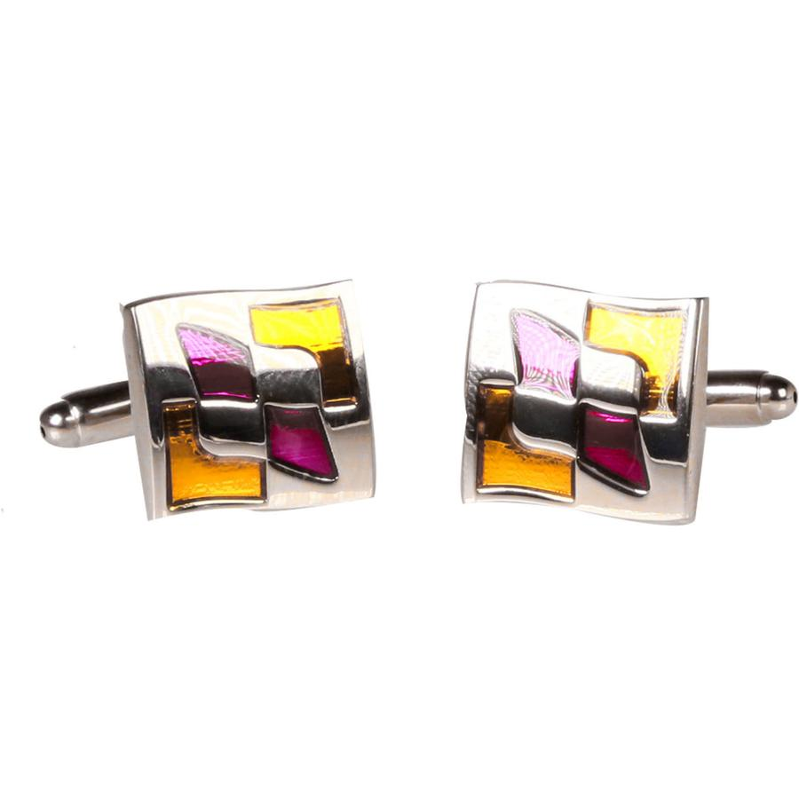 SILVERTONE SQUARE GOLD PURPLE PATTERN CUFFLINKS