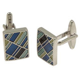 Silvertone Square Multicolor Cufflinks