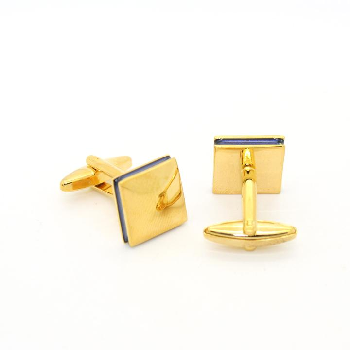 Goldtone Blue Lining Cuff Links