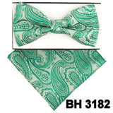 Green Paisley Pre-tied  Bow Tie Set