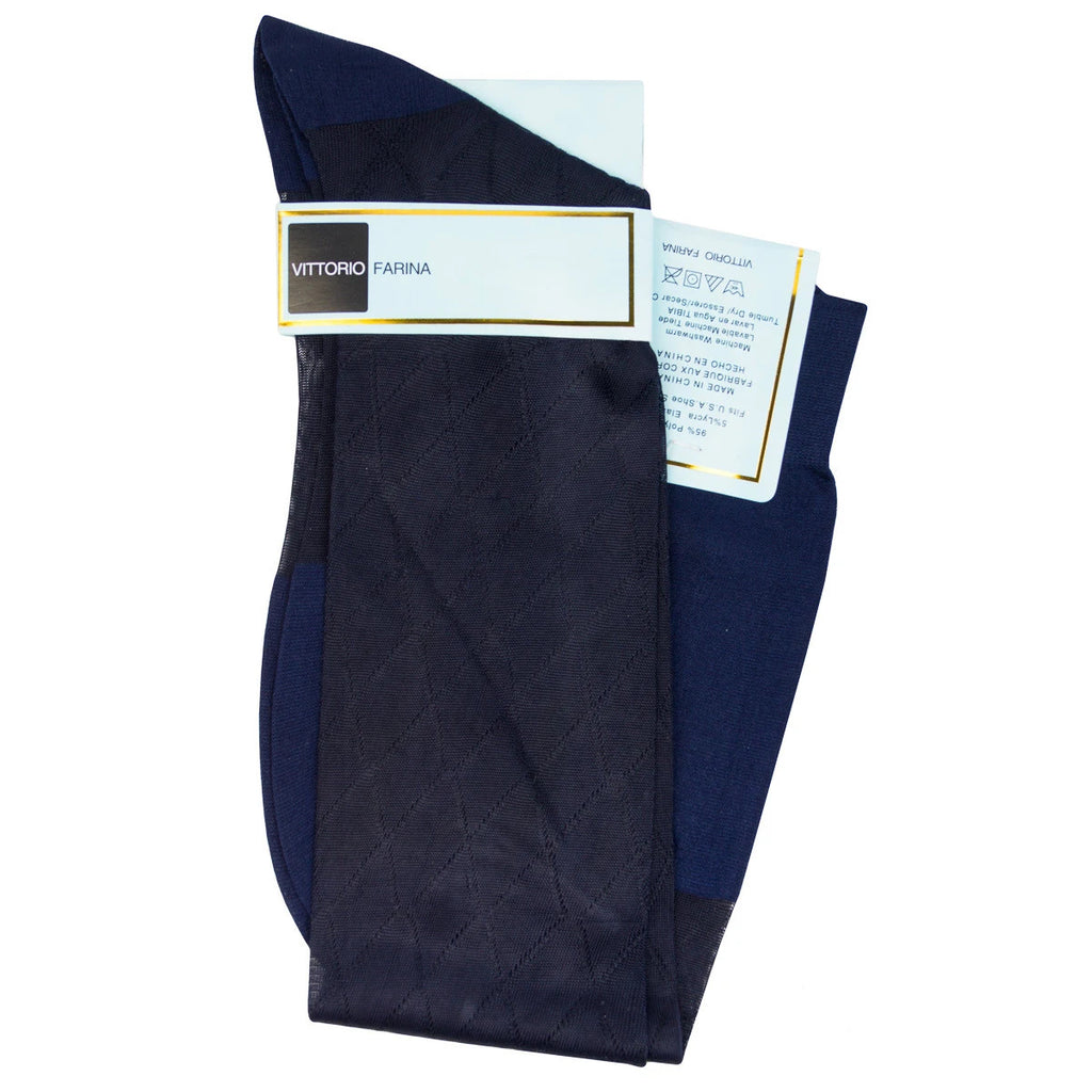 Navy Over The Calf Sock
