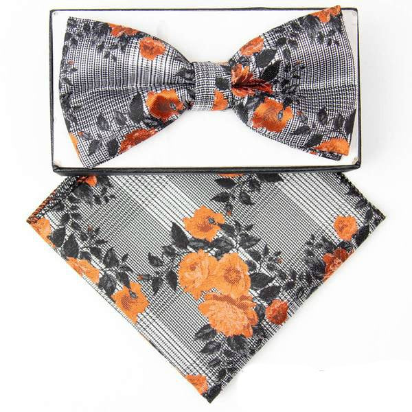 Orange Floral Plaid Pre-tied  Bow Tie Set