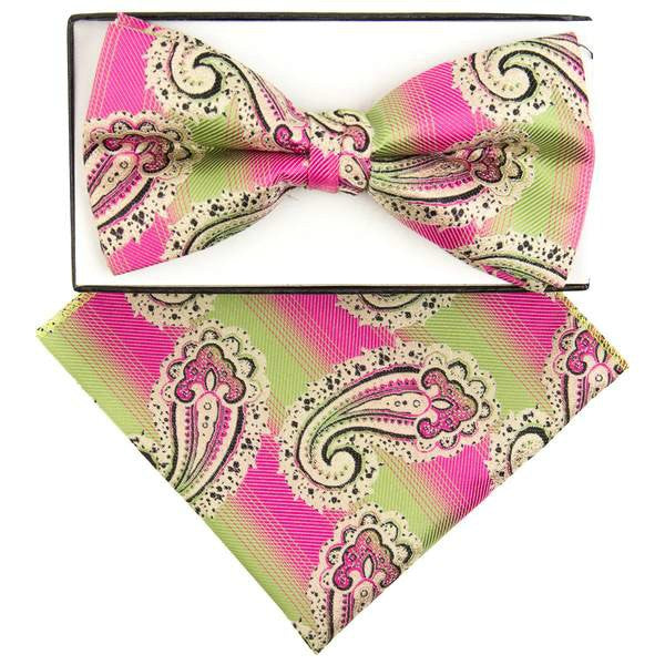 Pink and Green Faded Paisley  Pre-tied  Bow Tie Set