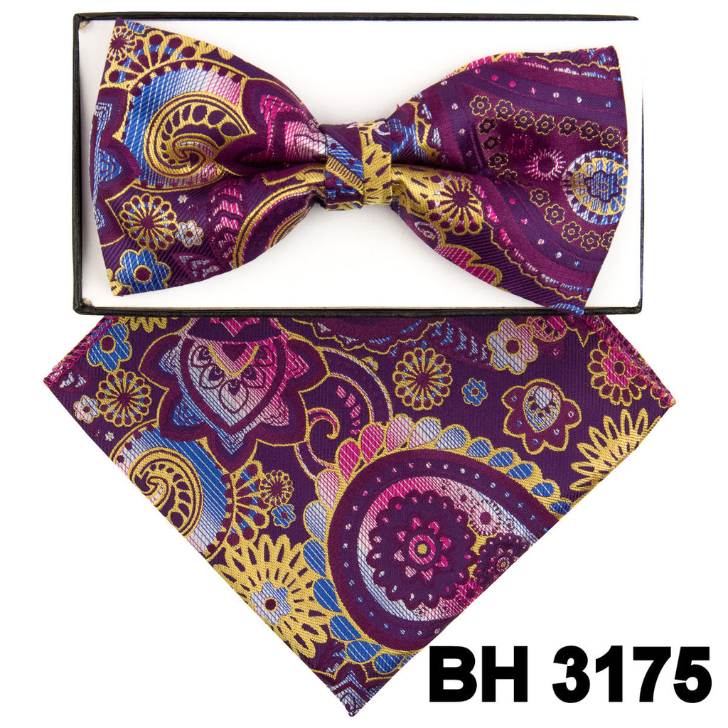 Purple Abstract Paisley Pre-tied  Bow Tie Set