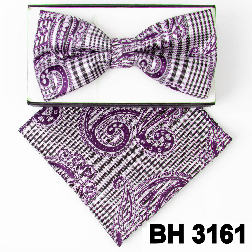 Purple Hounds-tooth Paisley Pre-tied  Bow Tie Set