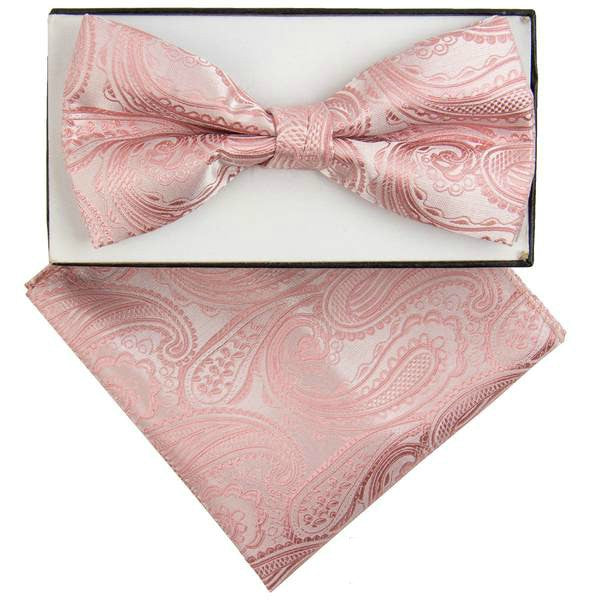 Rose Gold Paisley Bow Tie Set