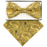 Yellow Classical Paisley  Pre-tied  Bow Tie Set