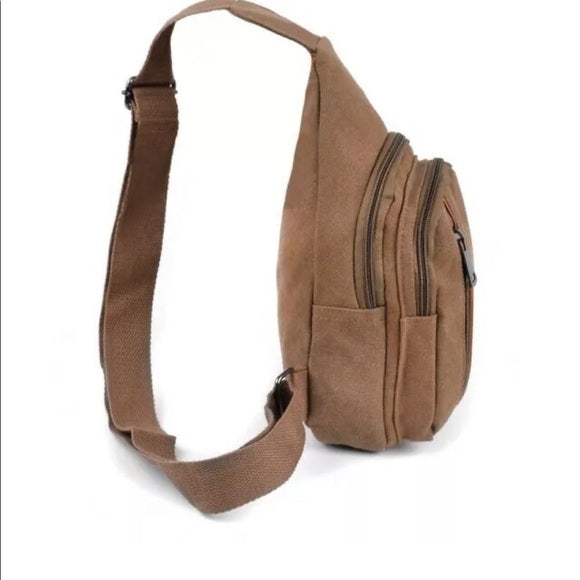 Brown Crossbody Canvas Sling Bag Backpack with Adjustable Strap