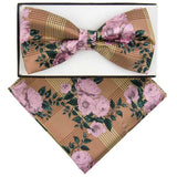 Pink and Gold Floral Plaid Pre-tied  Bow Tie Set