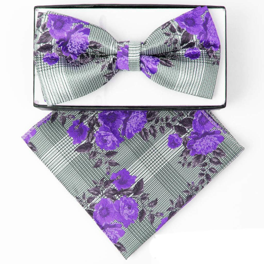 Purple Floral Plaid Pre-tied  Bow Tie Set