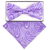 Light Purple Paisley Bow Tie Set