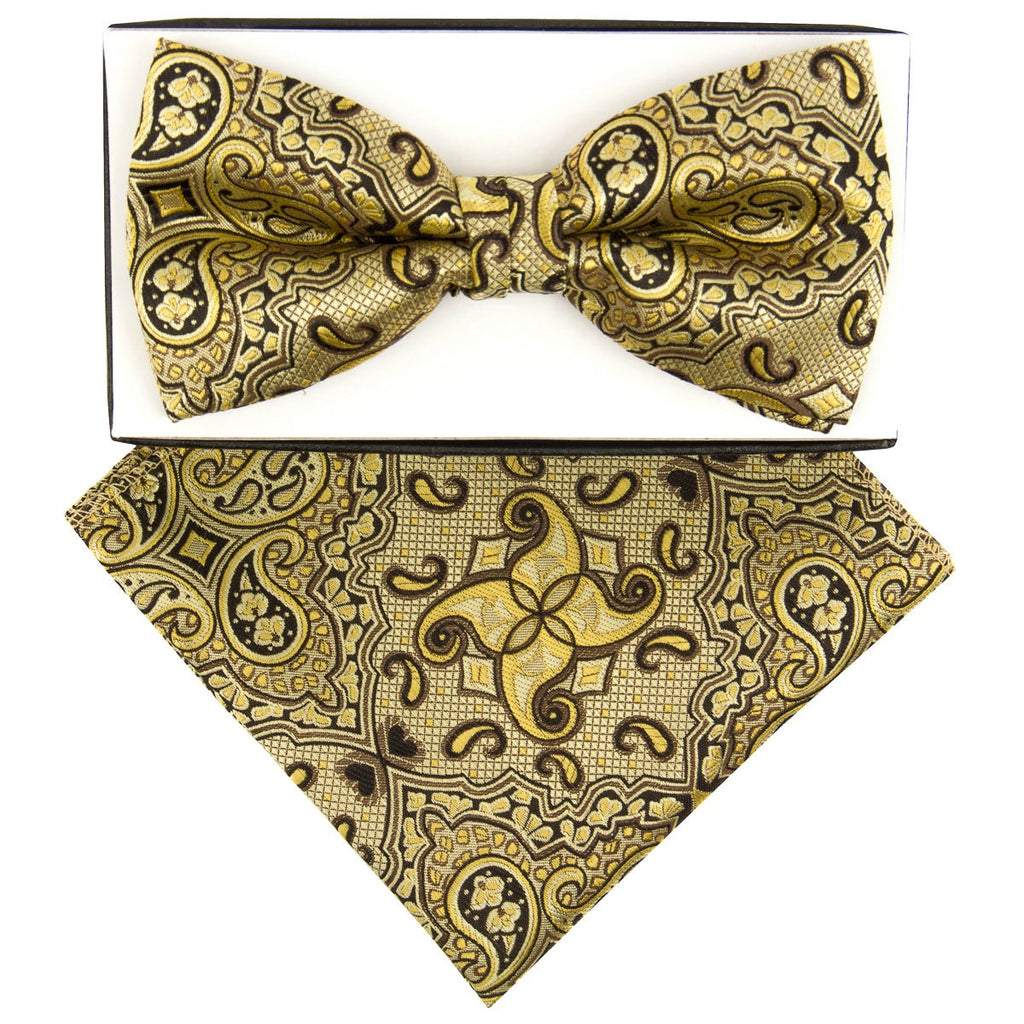Yellow Exotic Paisley Pre-tied  Bow Tie Set