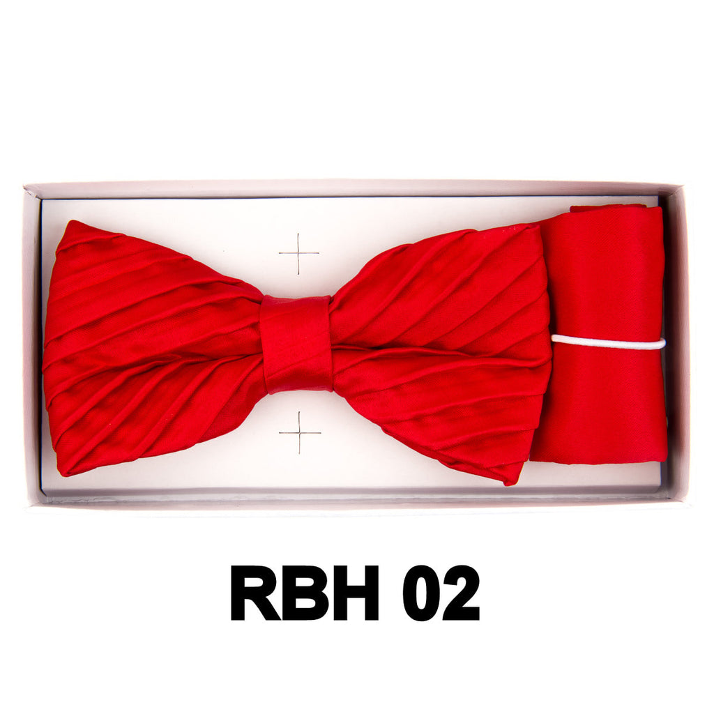 Red Pleated Bow Tie Set