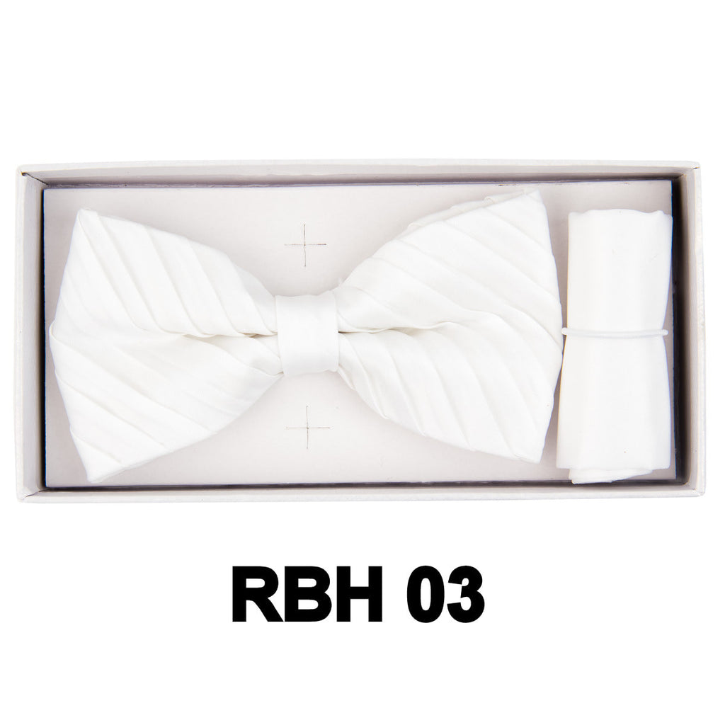 White Pleated Bow Tie Set