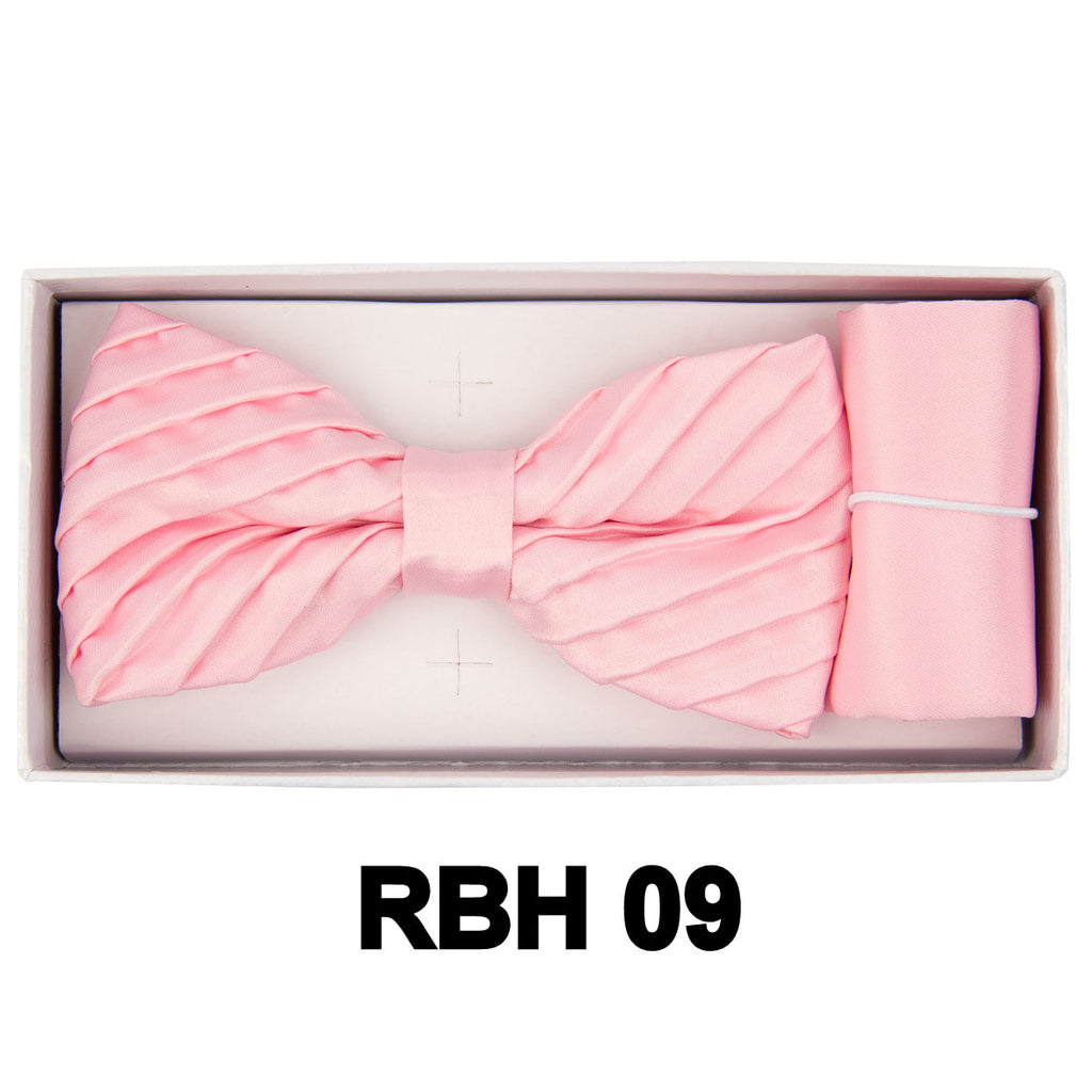 Light Pink Pleated  Bow Tie Set