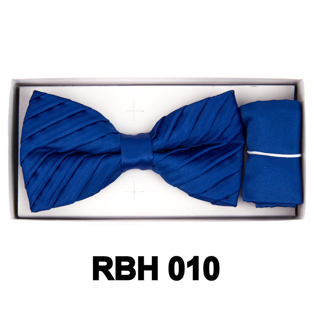 Royal Blue Pleated Bow Tie Set