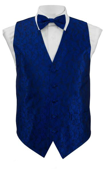 Royal Blue Paisley Vest / Tie / Handkerchief Set