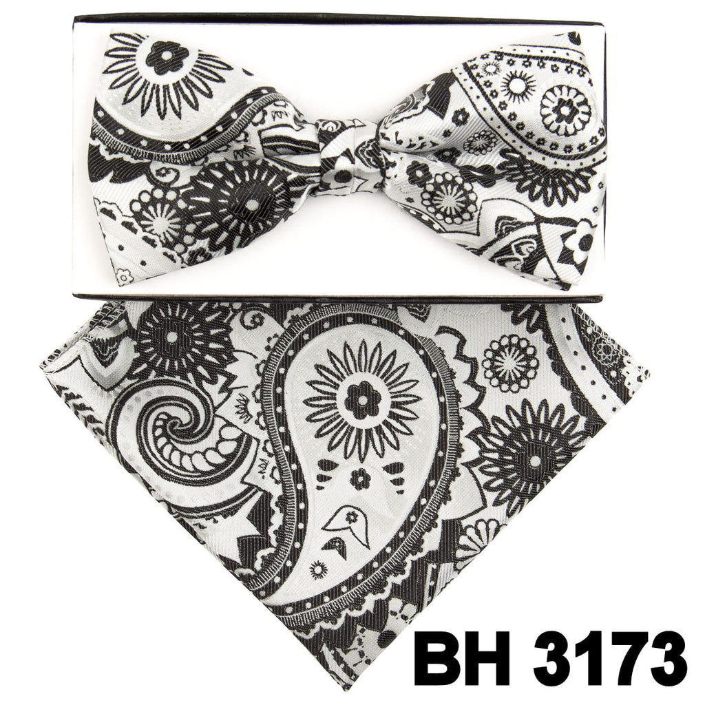 White Abstract Paisley Pre-tied  Bow Tie Set