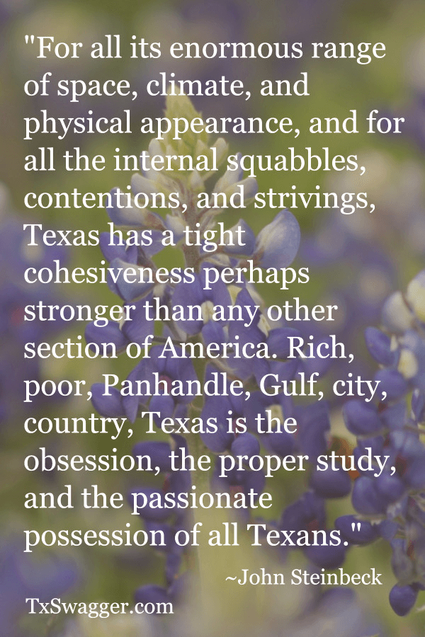 Quote about Texas by John Steinbeck, overlaid on picture of bluebonnets