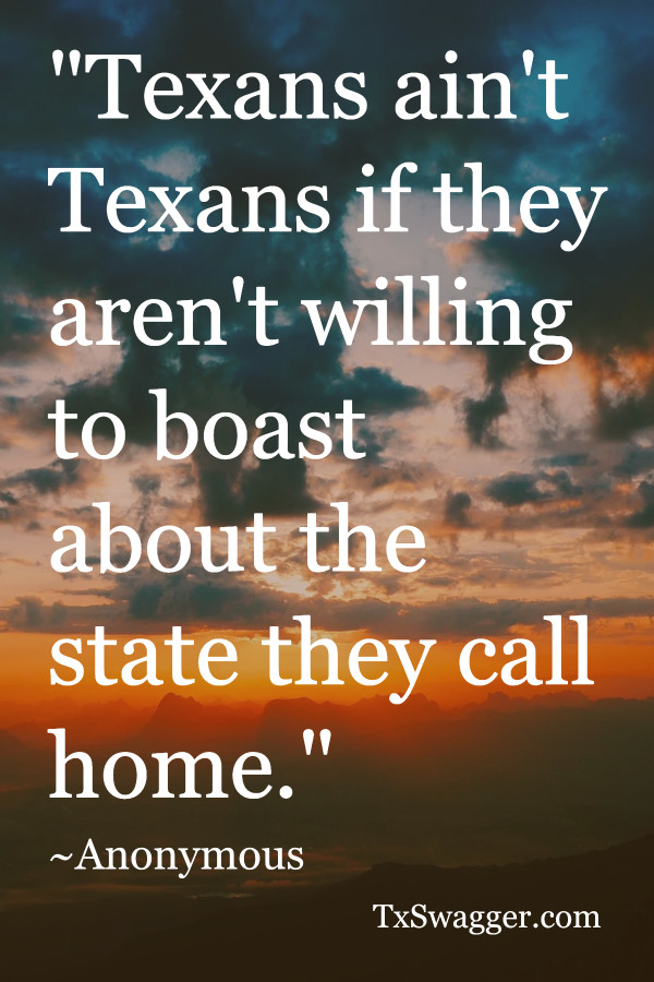 Texas quote overlaid on sunset picture